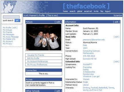 screenshot of the original facebook