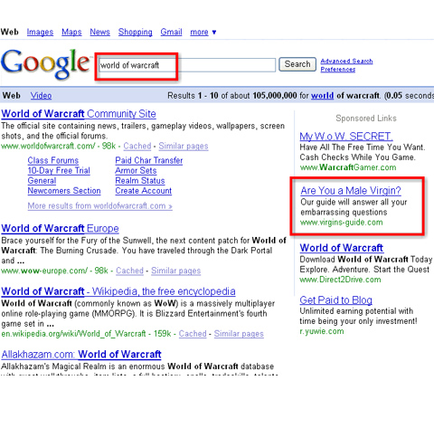 Example of poorly placed ads in google search