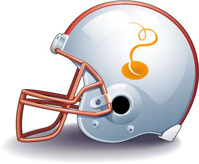 football helmet with TM's bean logo on the side