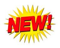 """NEW!"" in red with yellow star graphic behind"