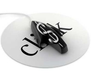computer mouse in shape of pointer with dollar sign on mousepad that says click