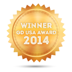 illustration: gold badge inscribed with 2014 GD USA Award