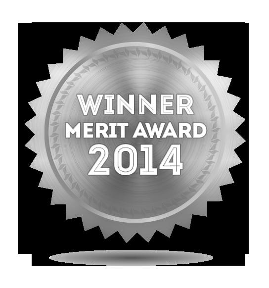 illustration: silver badge inscribed with 2014 Merit Award