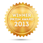illustration: gold badge, 2013 Prism Award Winner