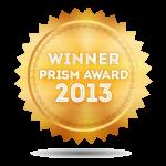 illustration: gold badge, 2013 Prism Award Winner