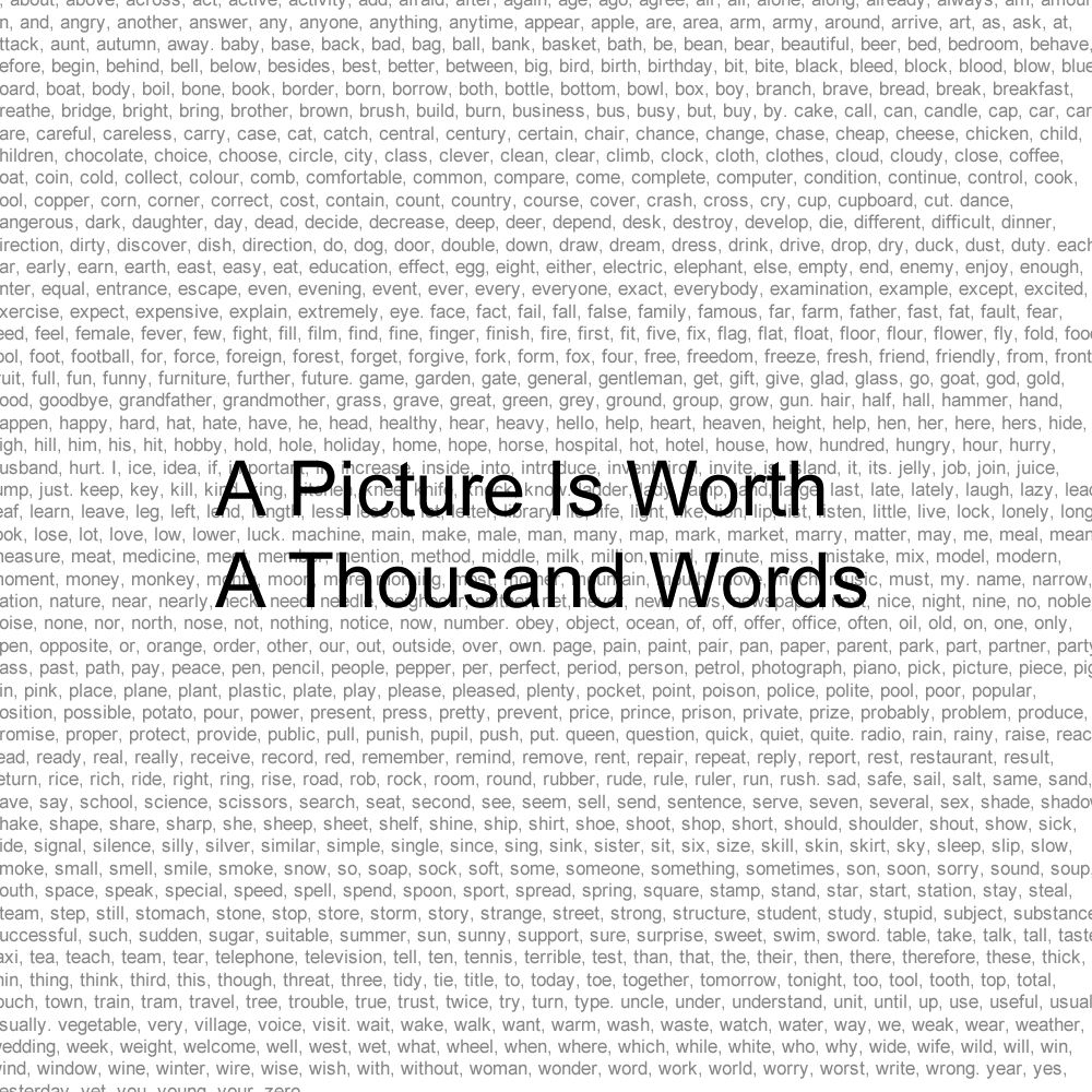a picture says a thousand words A picture is worth a thousand words it has been said throughout time that a picture could be worth a thousand words as you can imagine though, for each individual that views it, the words can be decidedly different.
