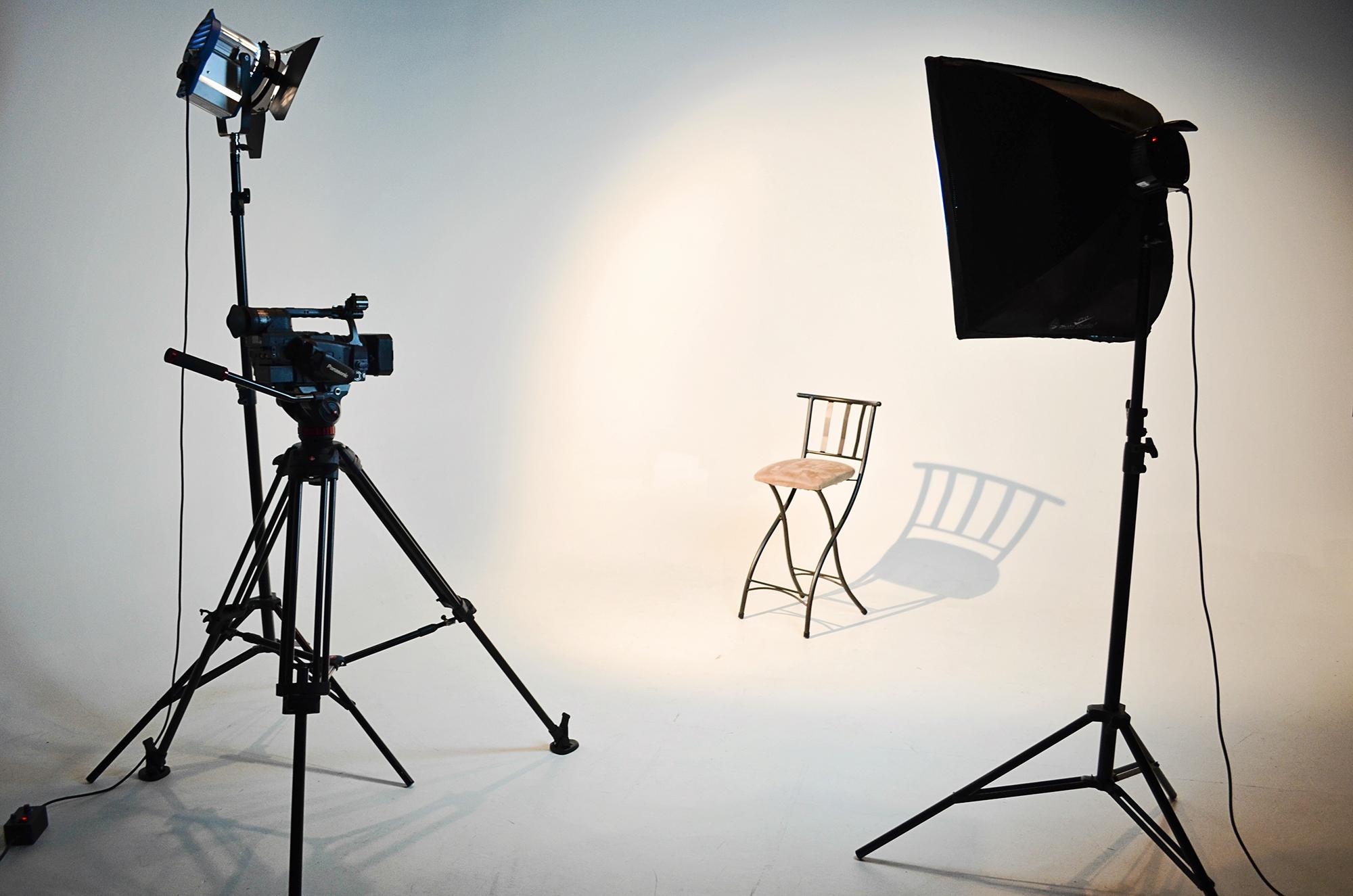 Studio setup for shooting with lights and cameras