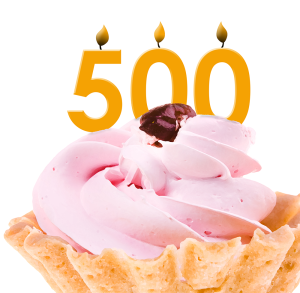cupcake with candle displaying the number 500
