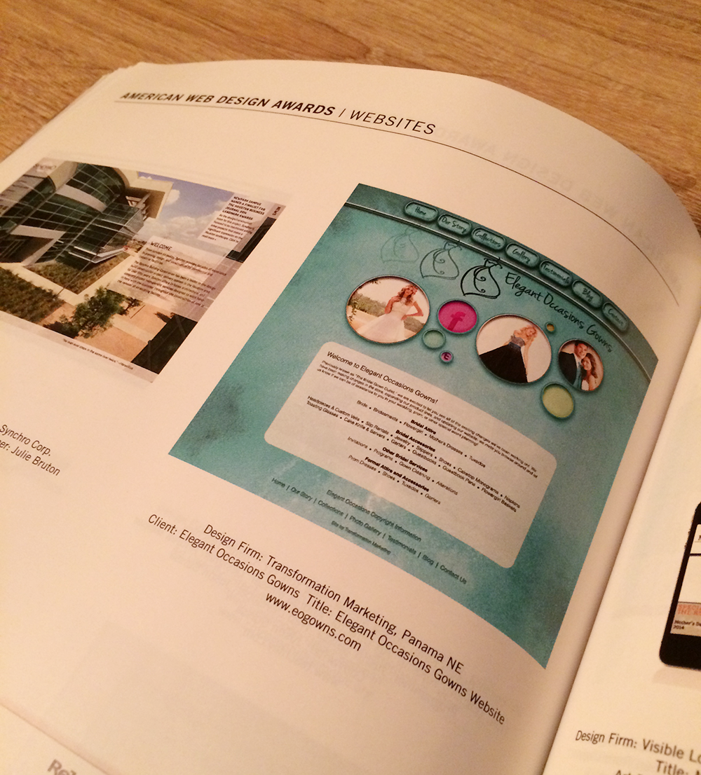EO Gowns website in booklet