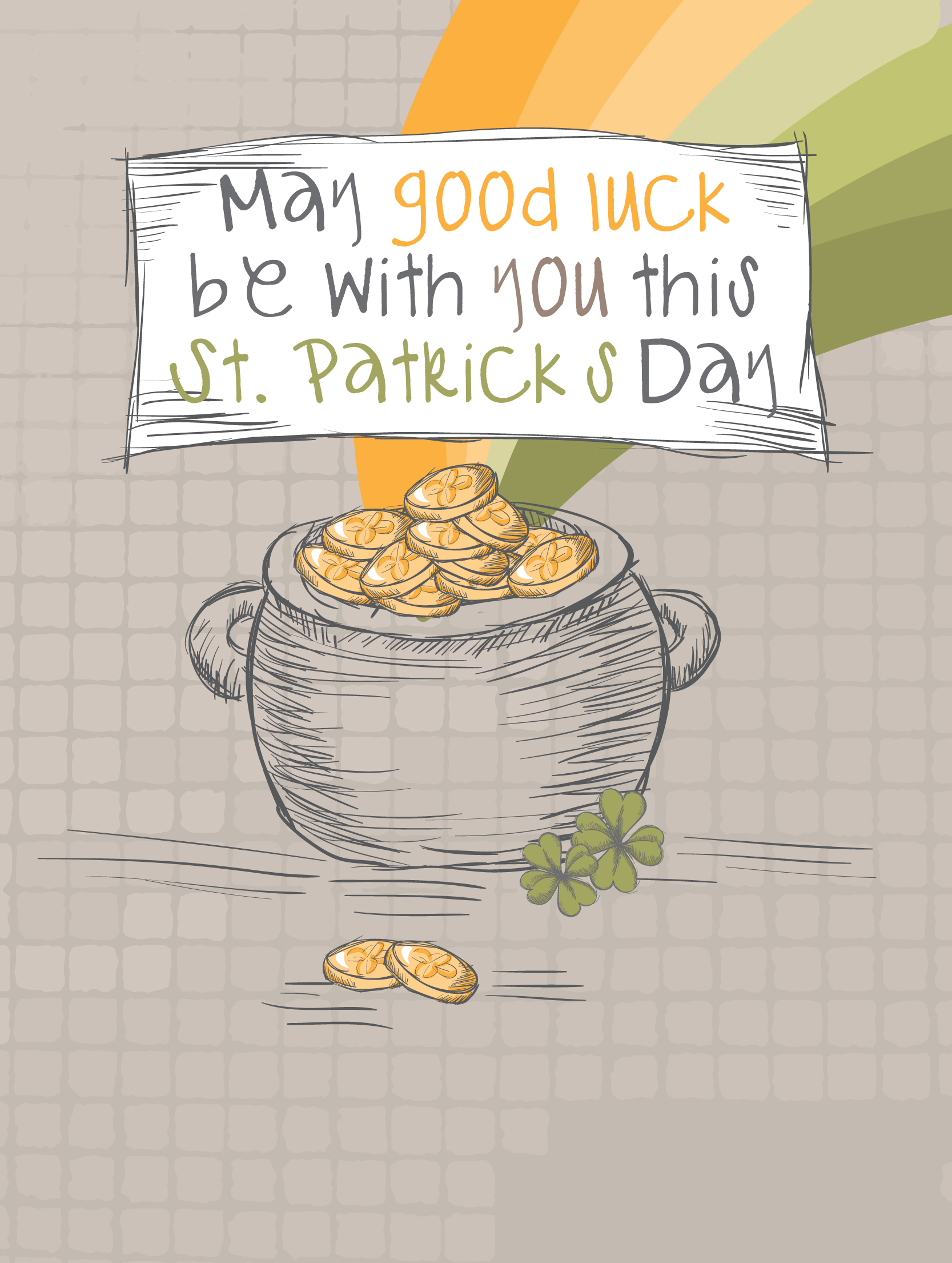 May good luck be with you this st. patrick's day illustration of pot of gold with orange and green rainbow