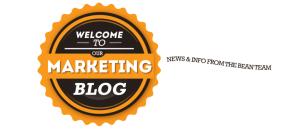 Graphic: Badge, Welcome to Our Marketing Blog; News and info from the bean team