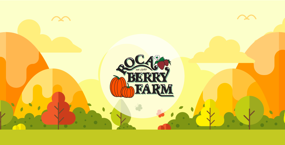 Roca Berry Farm logo in front of cute illustrated countryside