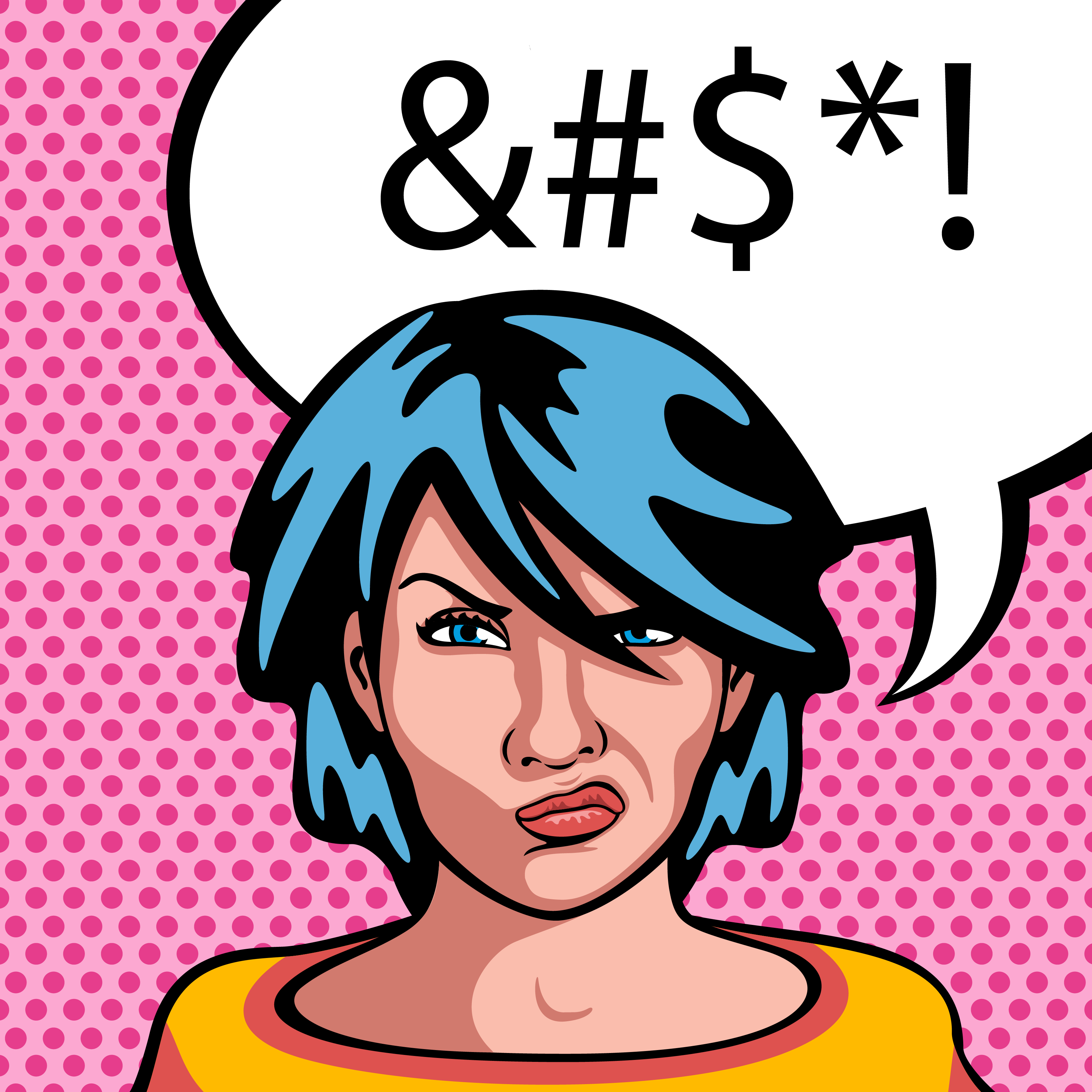 Comic book style angry woman with word bubble