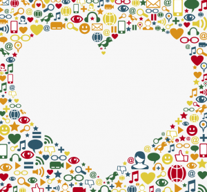 white heart in front of variety of colorful icons representing digital media