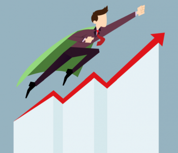 Business man with super hero cape flying up chart showing upward trend