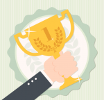 illustration: hand raising a trophy