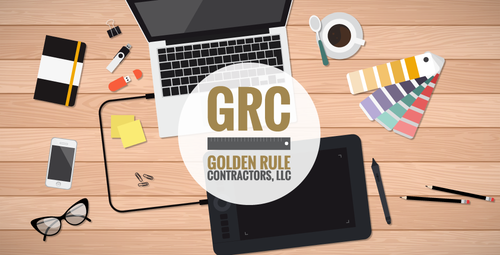GRC logo in front of illustration of desk with laptop, tablet, smartphone, color swatches and other misc. items