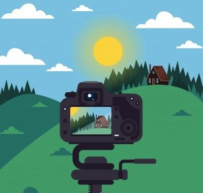 dslr camera taking scenic photo vector