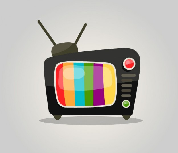 Television vector with color bars on screen