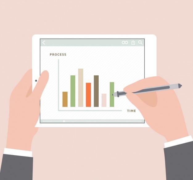 Marketing Results concept, statistics diagram on tablet
