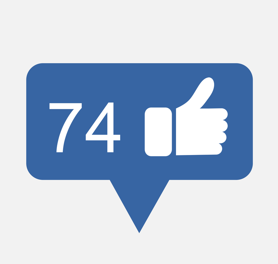 Facebook notification icon 74 likes
