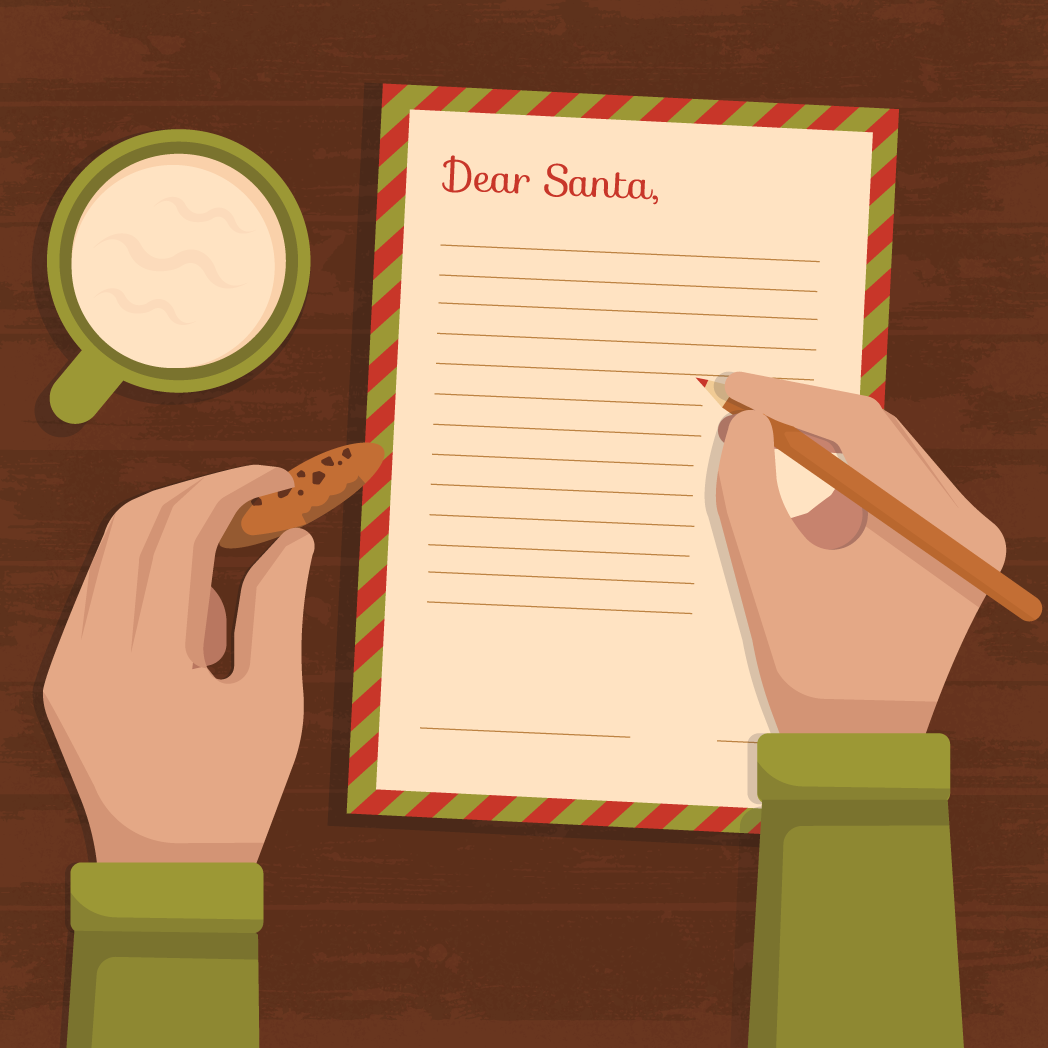 vector of two hands holding a cookie and writing a christmas wish list