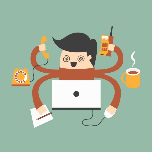 Vector of man with four arms on the phone, computer, notepad, etc.
