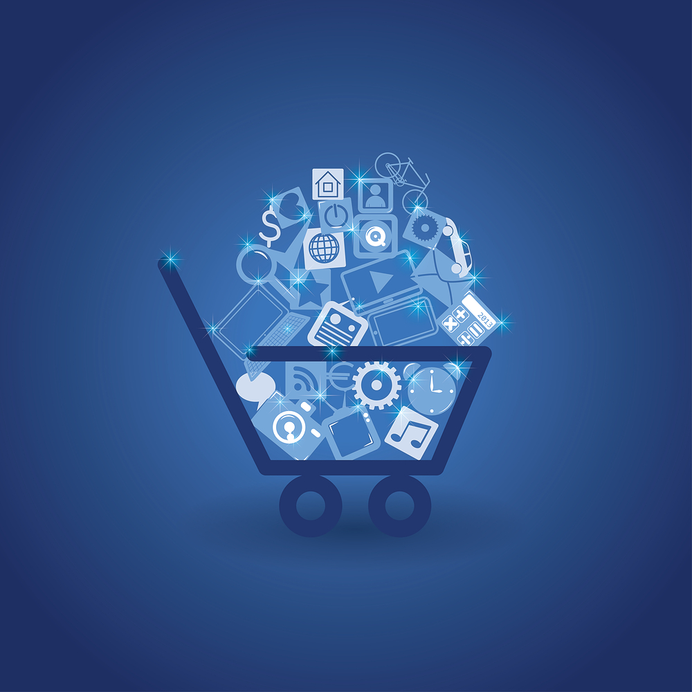 Vector of shopping cart full of web icons and various items