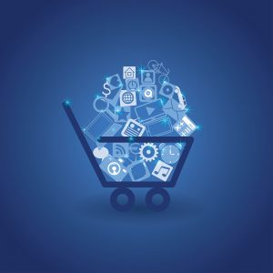 illustration: shopping cart full of web icons and various items