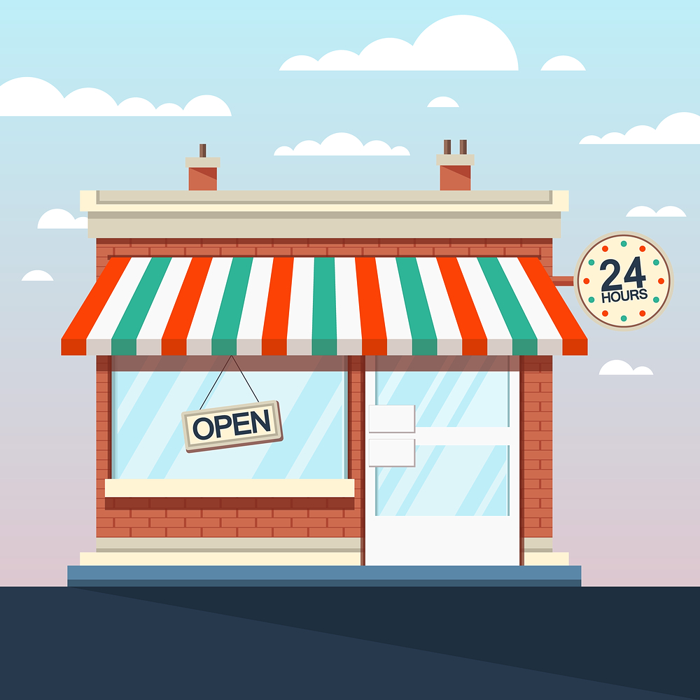 Vector of store front with awning and open sign