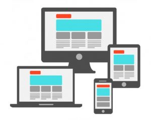 illustration: desktop, laptop, tablet, and mobile phone showing a website