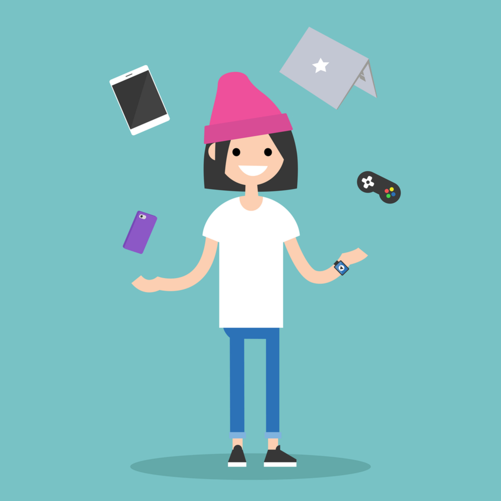vector of young girl in beanie juggling technology