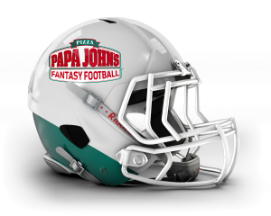 Papa John's fantasy football helmet