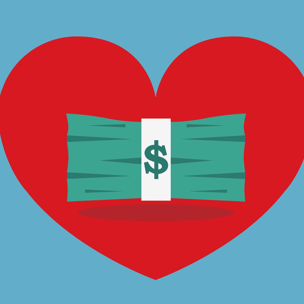 vector of dollar bills inside of a red heart