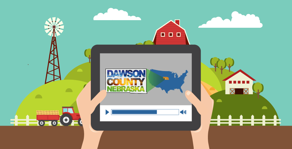 Cute illustration of Dawson County Development website on tablet held by farmer with farm in background