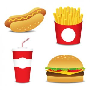 Vector of hot dog, fries, soda, burger