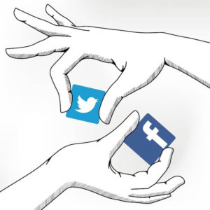 illustration: two hands hold tiles with facebook and twitter logos
