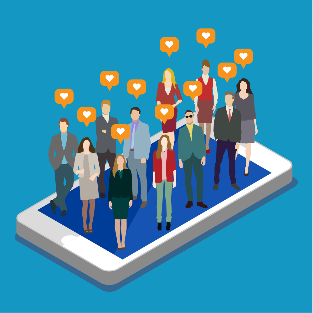 Concept of business social networking and communication. Flat design, vector illustration