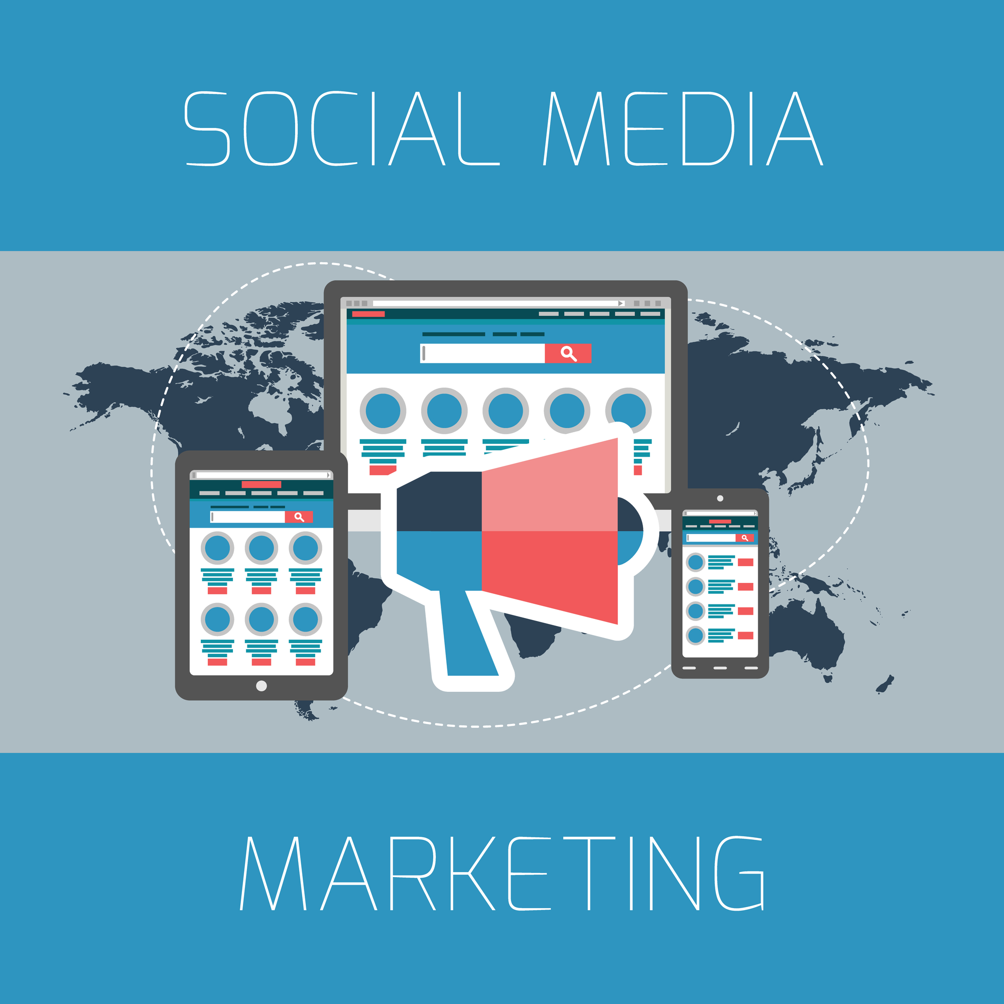 Social Media Marketing graphic over map of the world