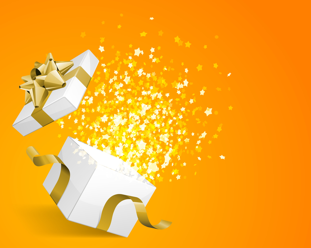 illustration of white box with gold packaging exploding open with twinkling magical stars