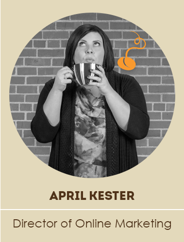April drinking coffee with bean logo over her shoulder