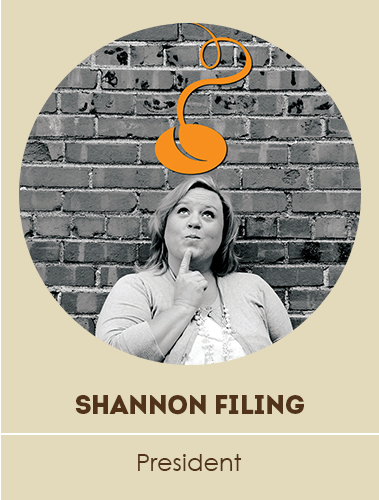 "Shannon ""thinking about"" bean logo"