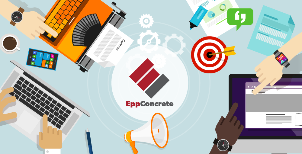 Epp Concrete logo amongst illustration of laptops, tablets, smartphones and various digital icons