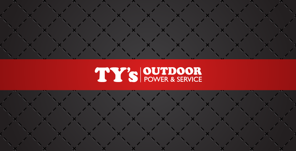 Ty's Outdoor Power & Service logo on red in front of artistic background
