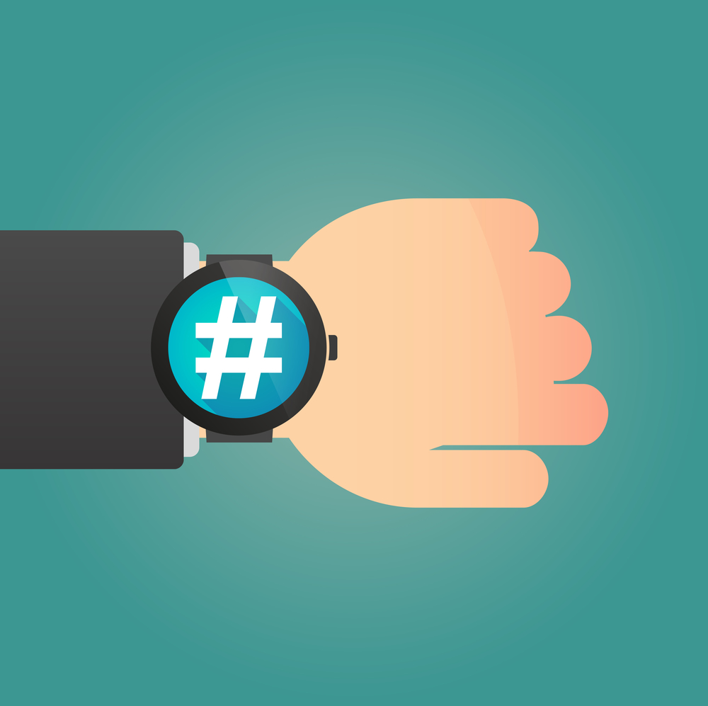 Illustration of a hand with a smart watch displaying a hash tag