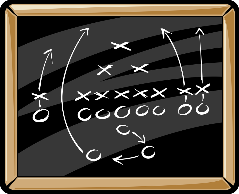 illustration of x's and o's on from a football playbook