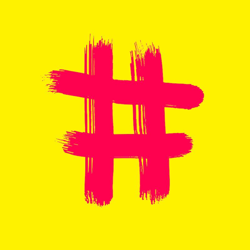 Red Hash sign on yellow - Vector Art handmade brush.