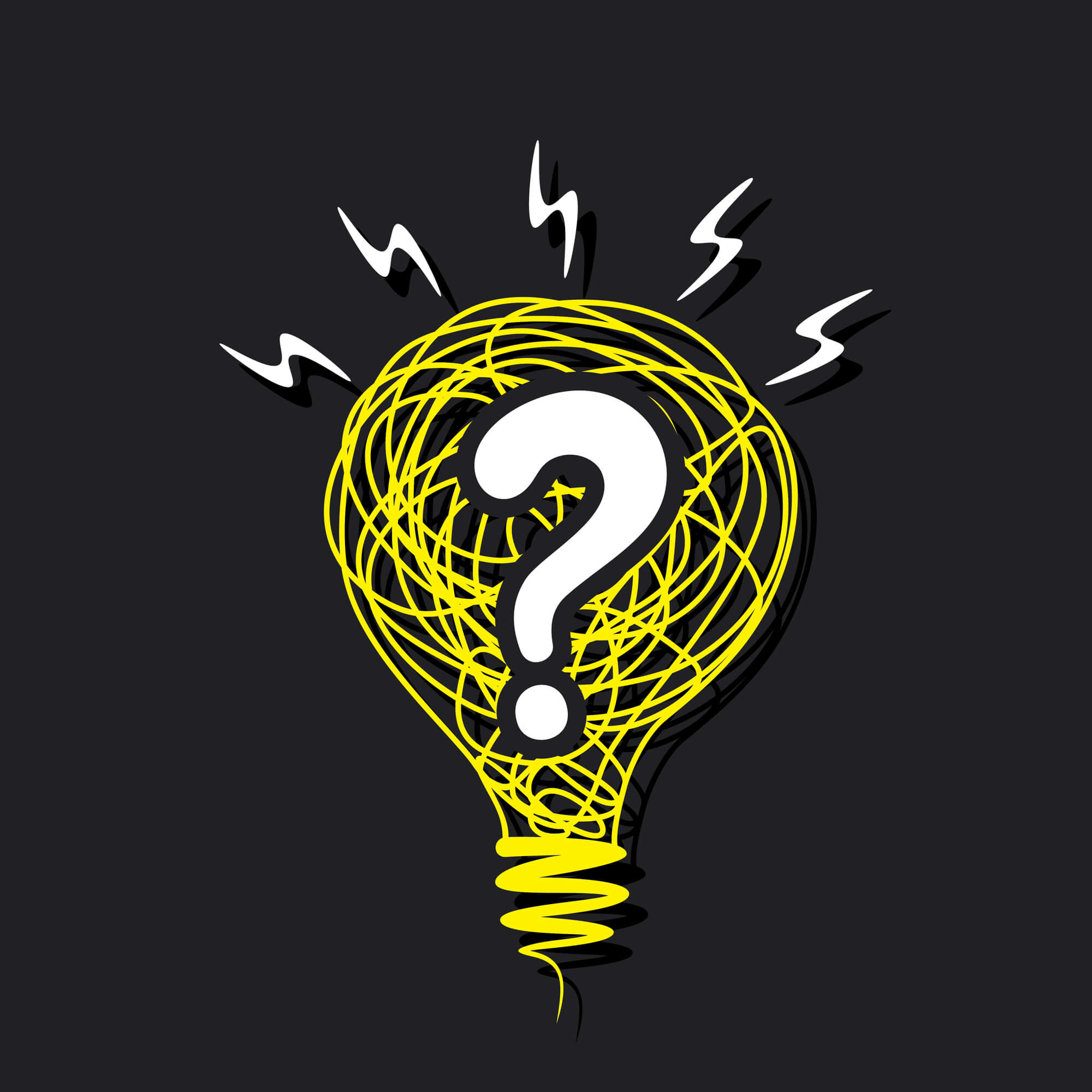 drawing of a lightbulb with a question mark