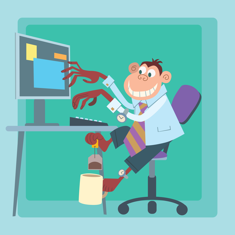 Image of monkey multi-tasking at desk, writing on computer