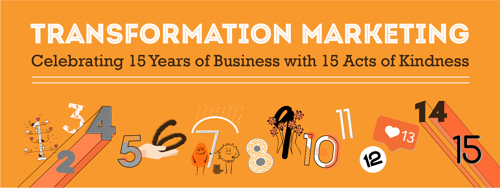 Banner image for Transformation Marketing's 15 Acts of Kindness for 15 Years of Business
